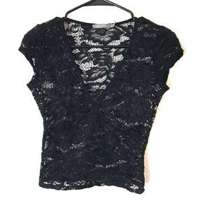 Urban Outfitters Short-Sleeved Black Lace Crop Top
